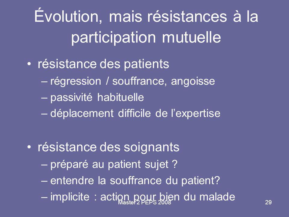 Évolution, mais résistances à la participation mutuelle