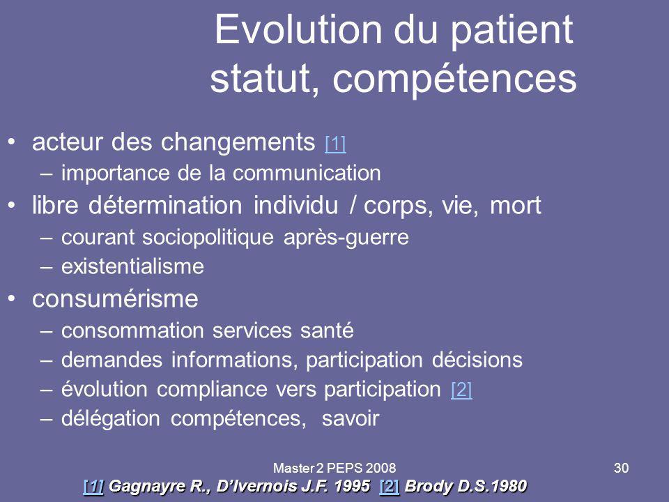 Evolution du patient statut, compétences