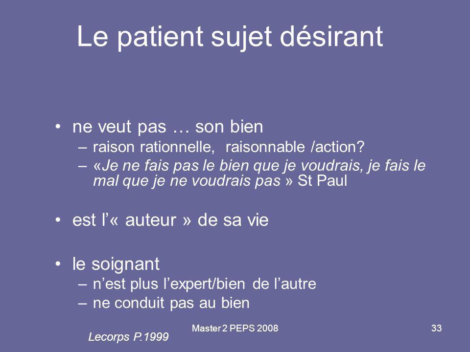 Le patient sujet désirant