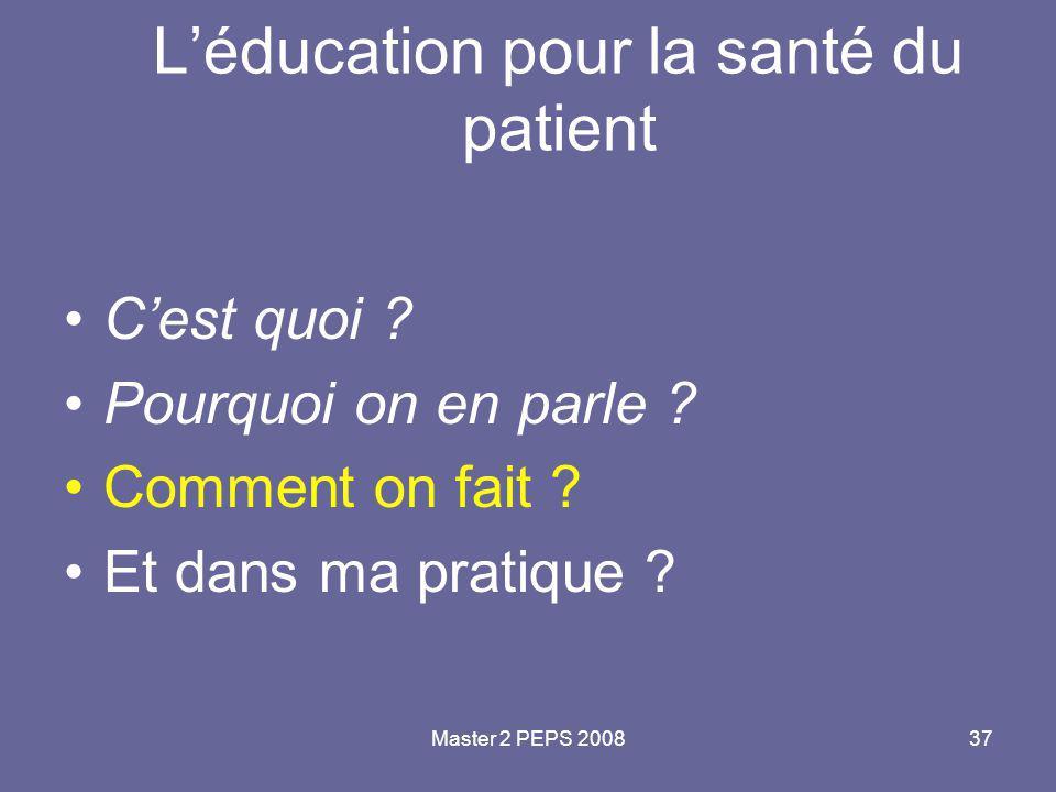L'éducation pour la santé du patient