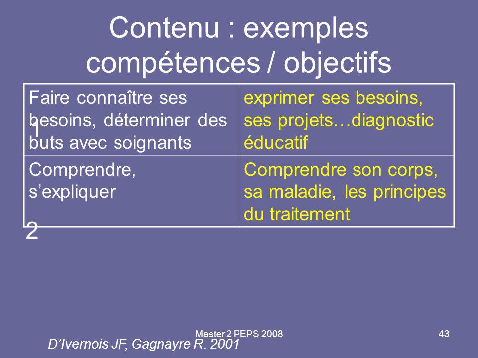 Contenu : exemples compétences / objectifs