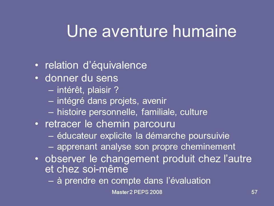 Une aventure humaine relation d'équivalence donner du sens