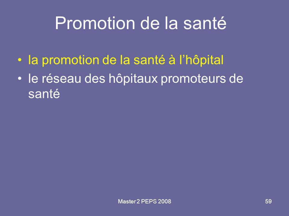 Promotion de la santé la promotion de la santé à l'hôpital