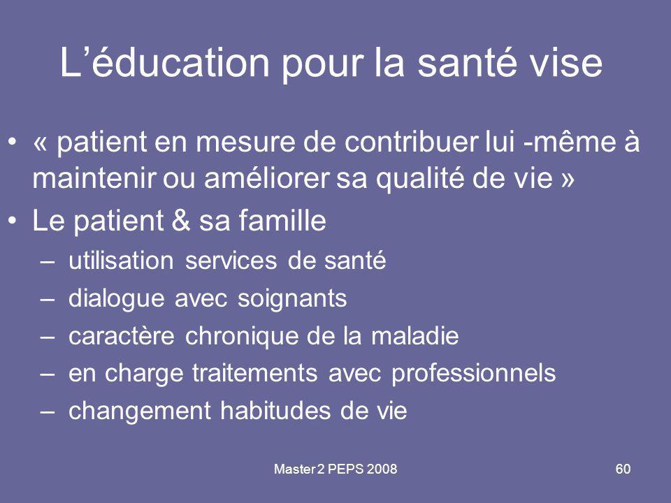 L'éducation pour la santé vise