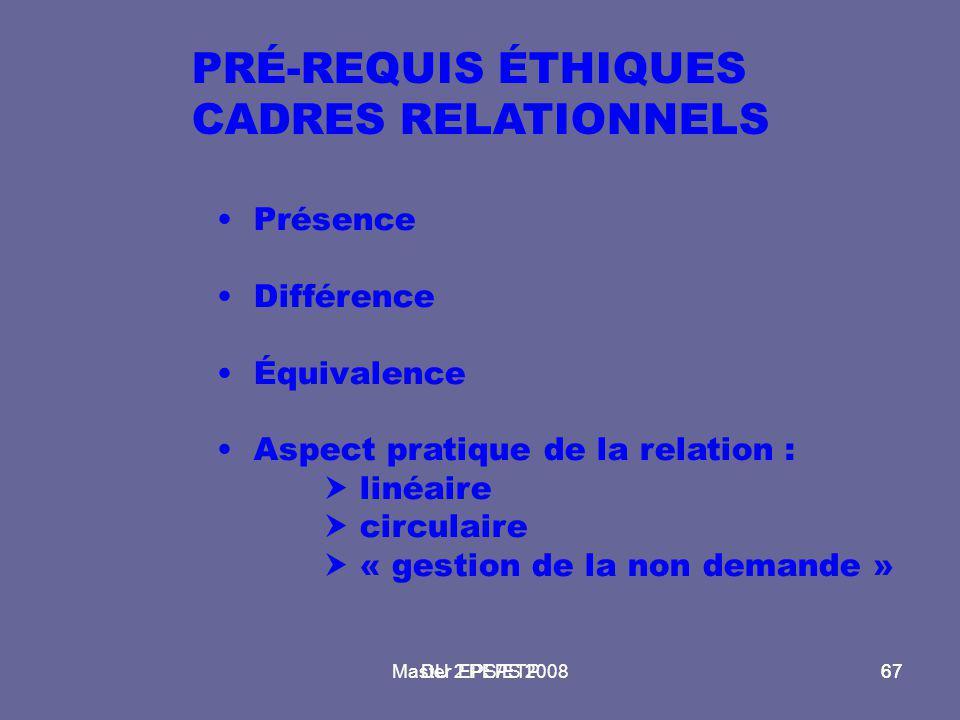 PRÉ-REQUIS ÉTHIQUES CADRES RELATIONNELS Présence Différence