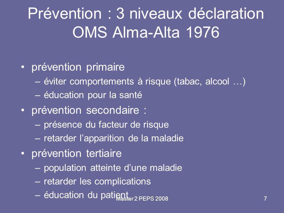 Prévention : 3 niveaux déclaration OMS Alma-Alta 1976