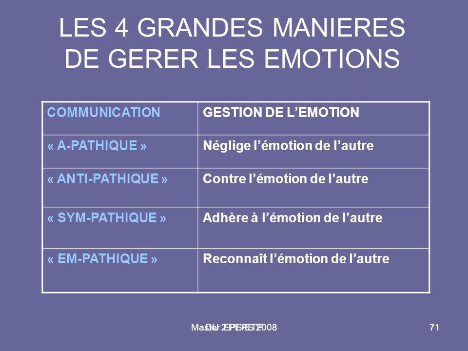 LES 4 GRANDES MANIERES DE GERER LES EMOTIONS