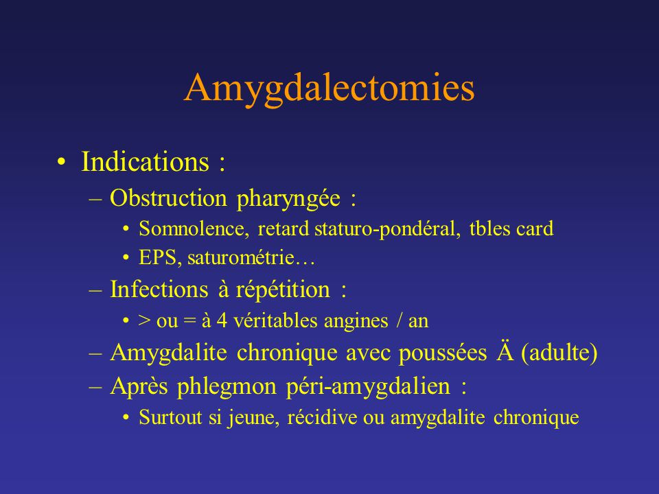 Amygdalectomies Indications : Obstruction pharyngée :