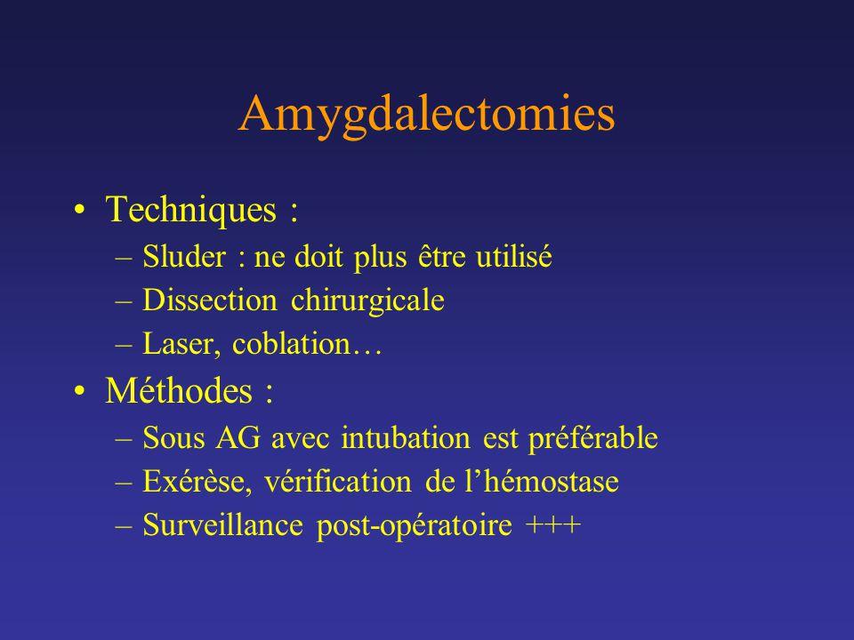 Amygdalectomies Techniques : Méthodes :