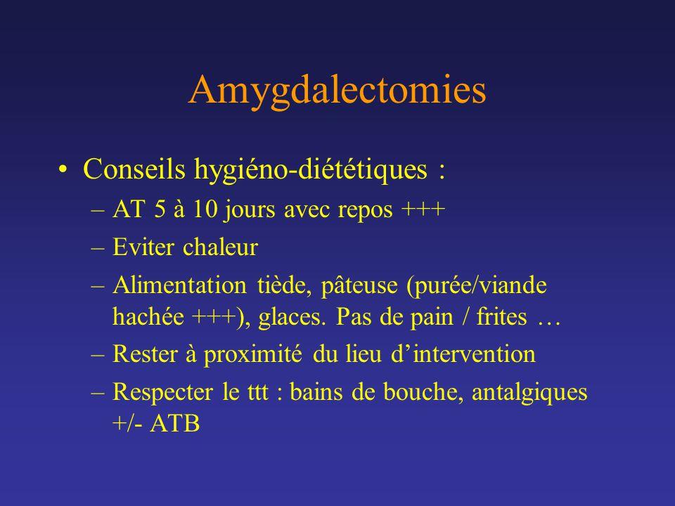 Amygdalectomies Conseils hygiéno-diététiques :