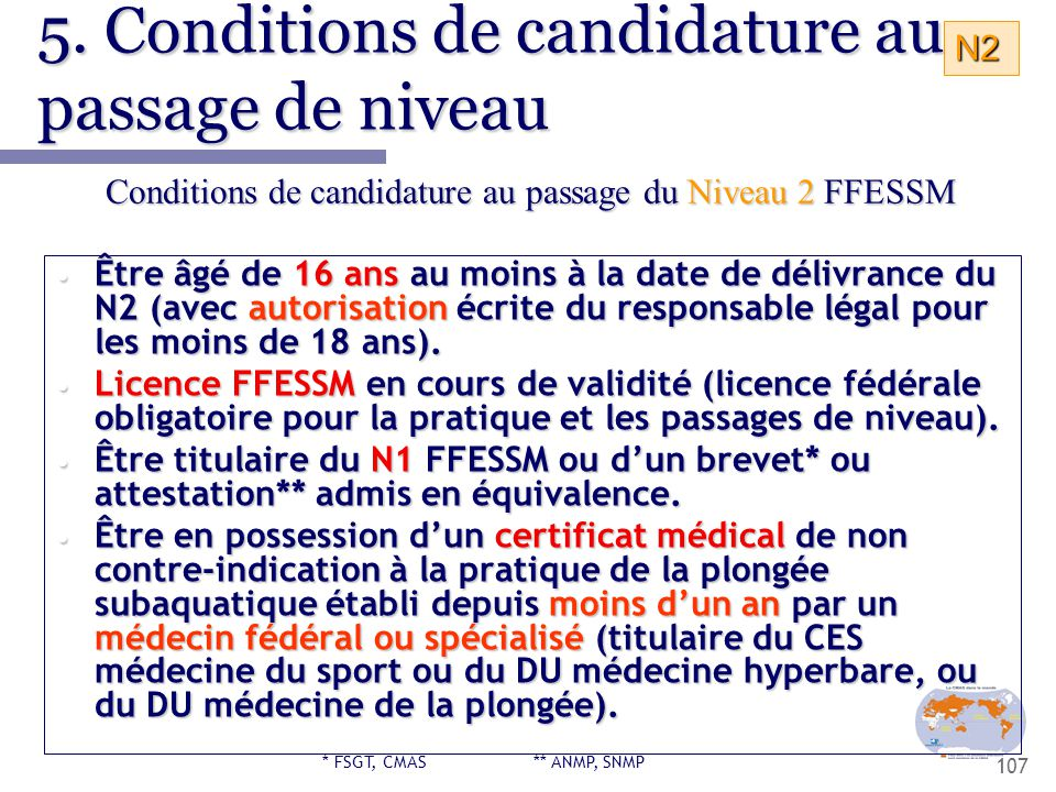 5. Conditions de candidature au passage de niveau