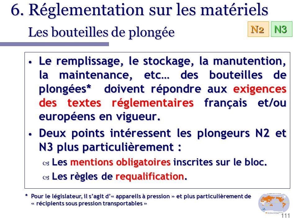 6. Réglementation sur les matériels Les bouteilles de plongée