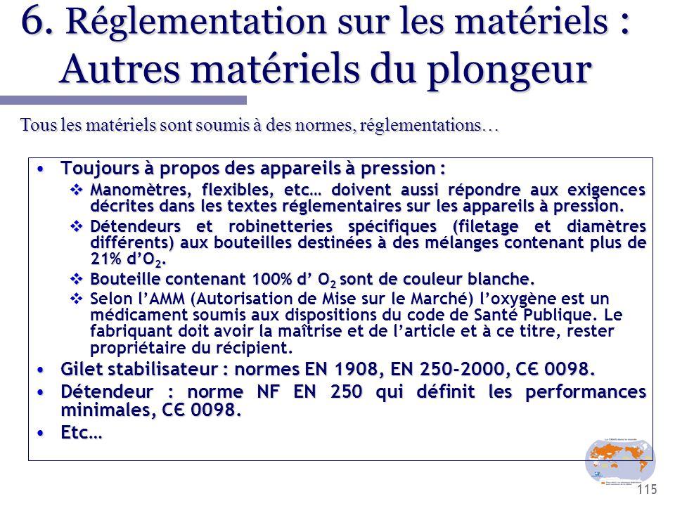 6. Réglementation sur les matériels : Autres matériels du plongeur