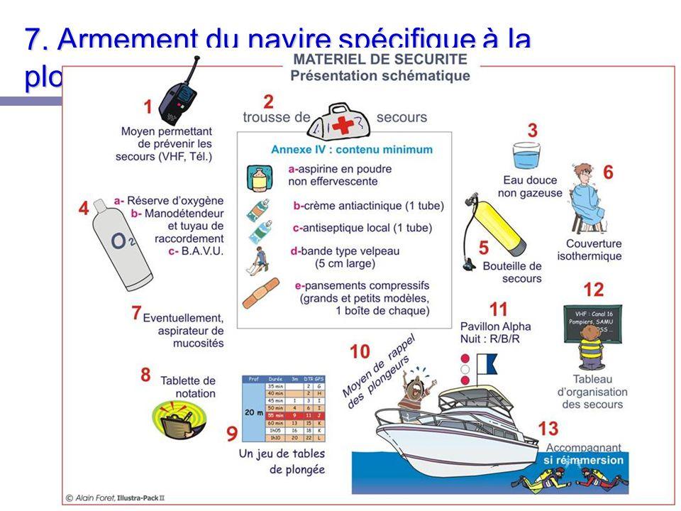 7. Armement du navire spécifique à la plongée