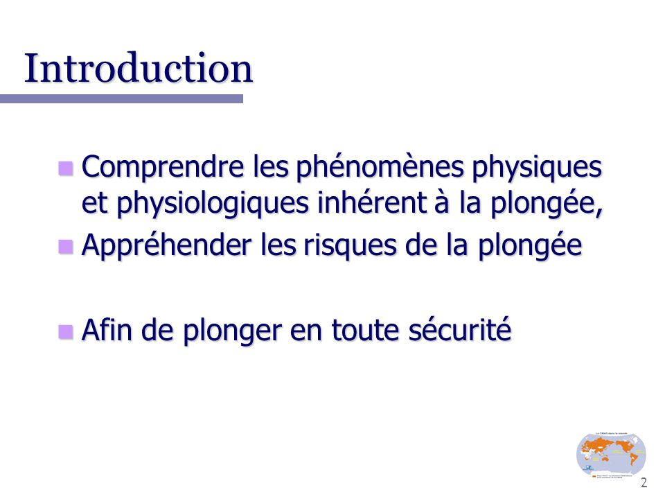 Notions de physique appliquée à la plongée.