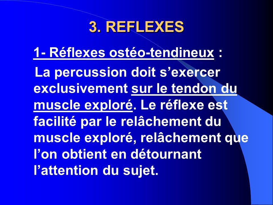 3. REFLEXES 1- Réflexes ostéo-tendineux :