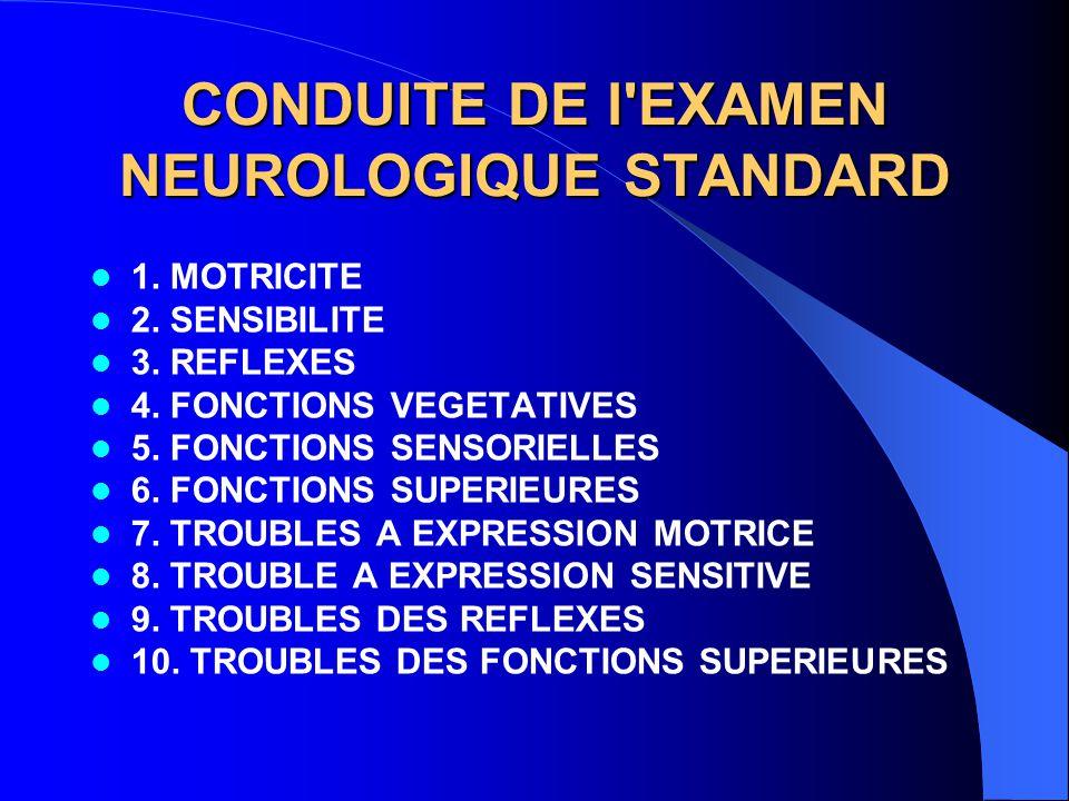CONDUITE DE l EXAMEN NEUROLOGIQUE STANDARD