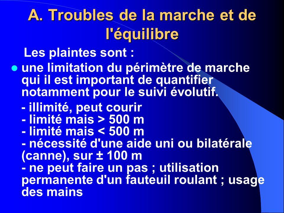 A. Troubles de la marche et de l équilibre