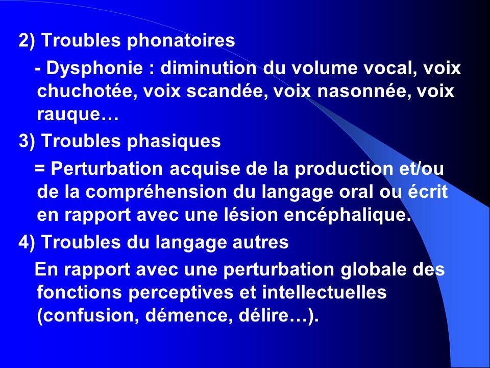 2) Troubles phonatoires