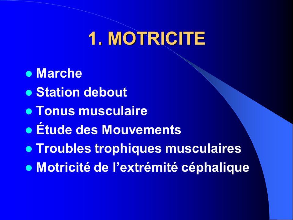 1. MOTRICITE Marche Station debout Tonus musculaire