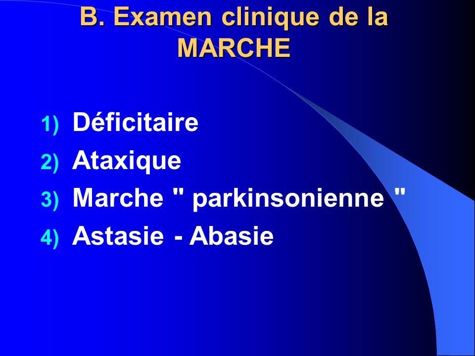 B. Examen clinique de la MARCHE