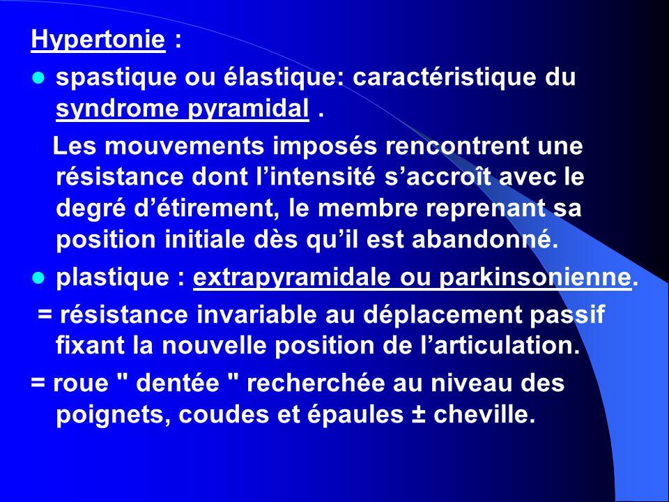 Hypertonie : spastique ou élastique: caractéristique du syndrome pyramidal .