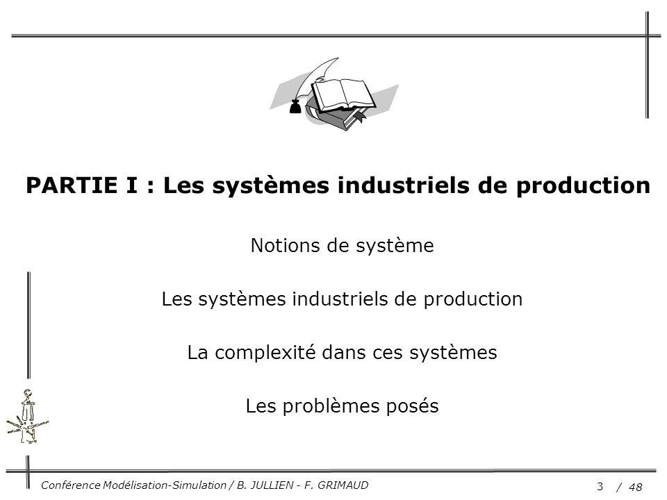 PARTIE I : Les systèmes industriels de production