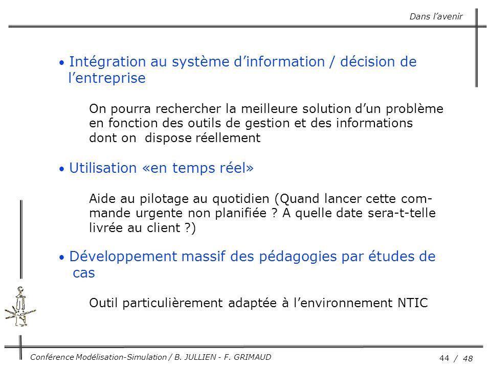 l'entreprise cas Intégration au système d'information / décision de
