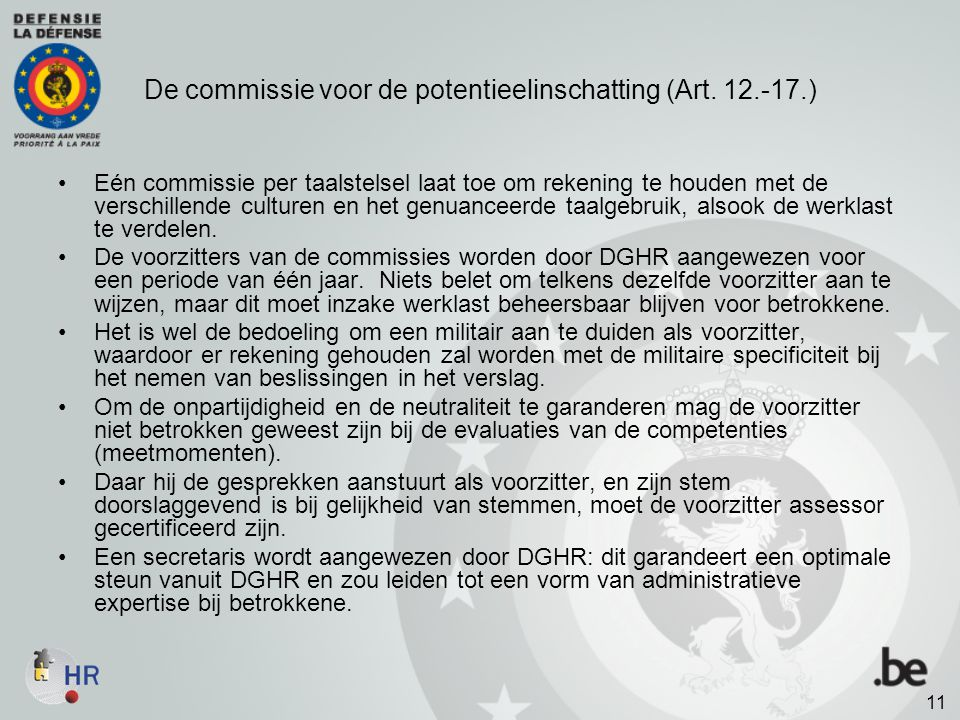 De commissie voor de potentieelinschatting (Art. 12.-17.)