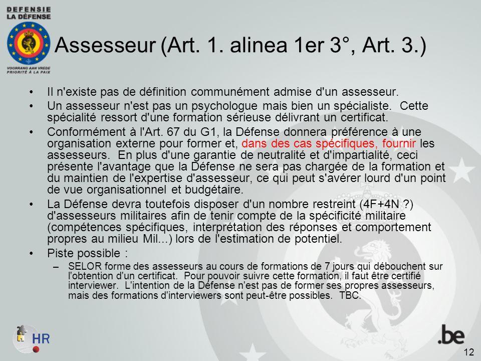 Assesseur (Art. 1. alinea 1er 3°, Art. 3.)
