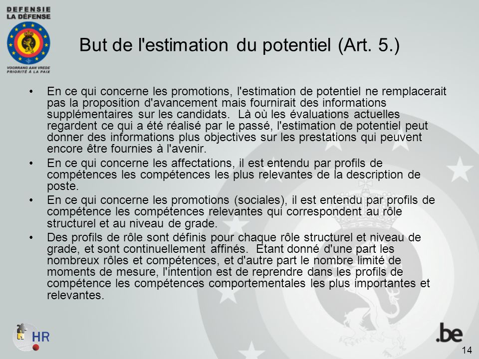 But de l estimation du potentiel (Art. 5.)