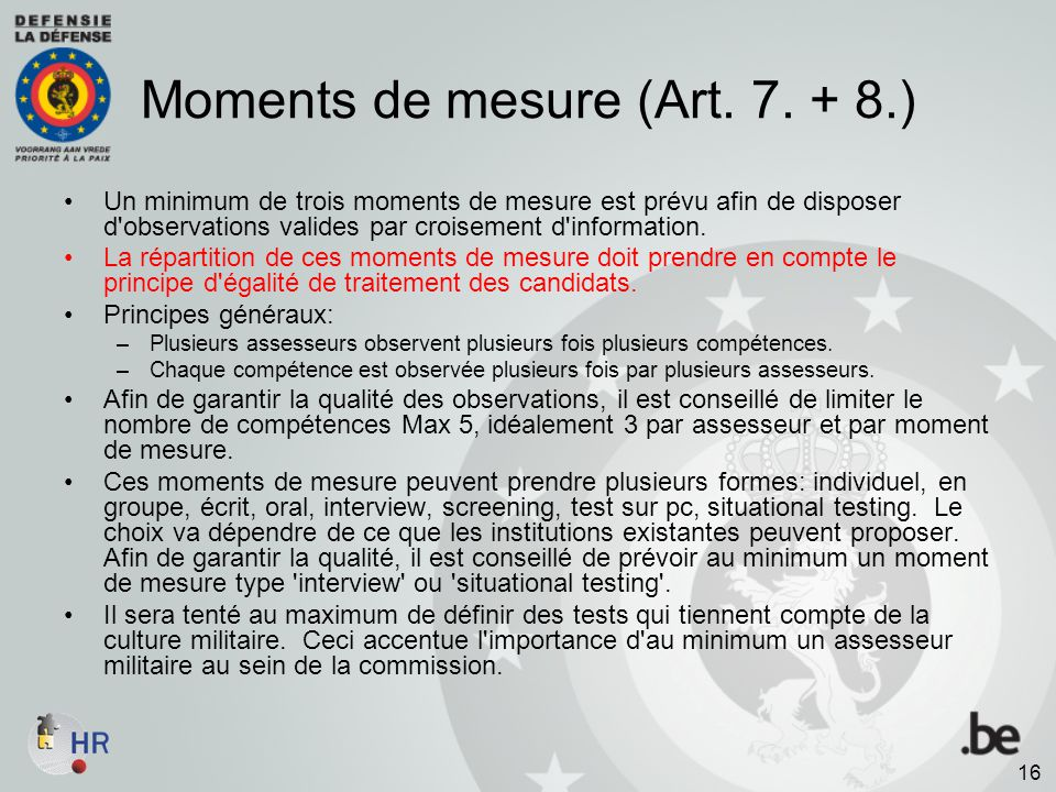 Moments de mesure (Art. 7. + 8.)
