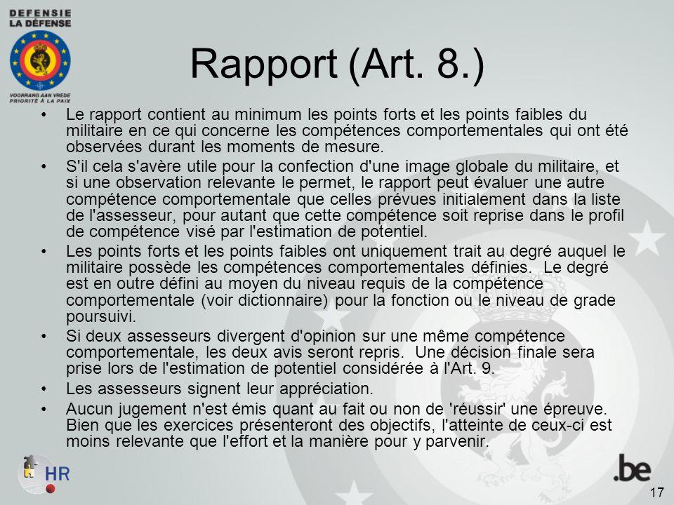 Rapport (Art. 8.)