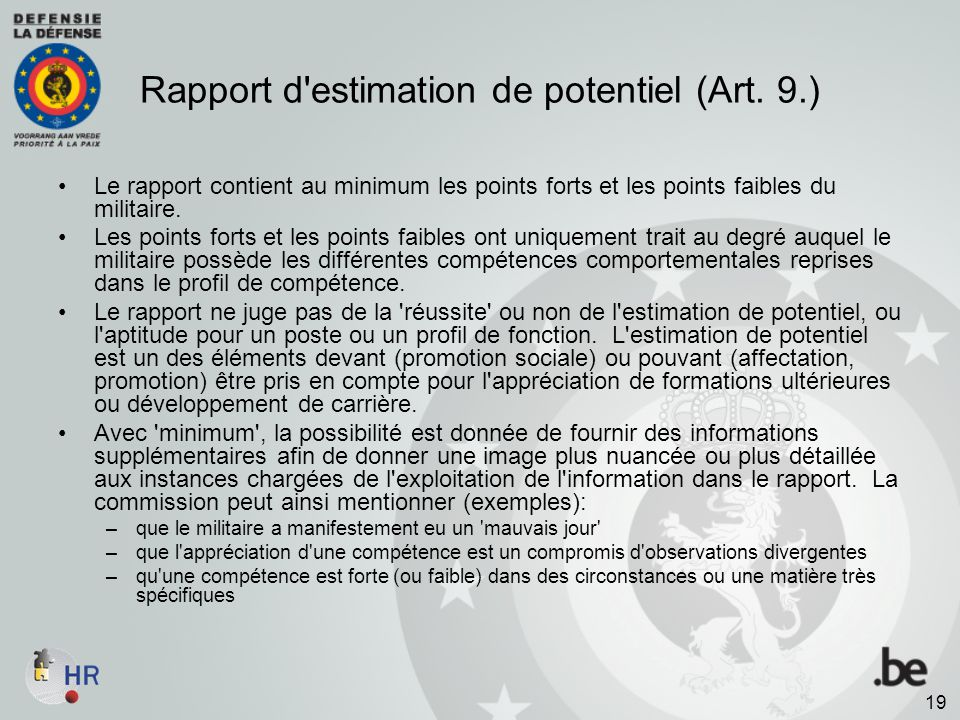 Rapport d estimation de potentiel (Art. 9.)