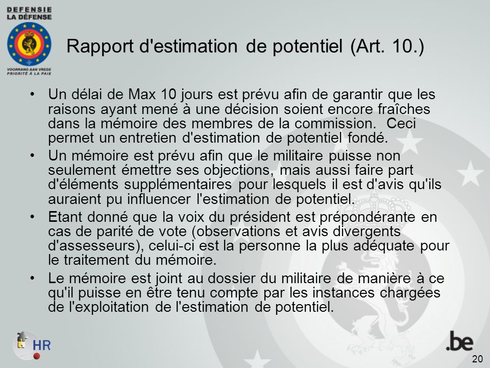 Rapport d estimation de potentiel (Art. 10.)