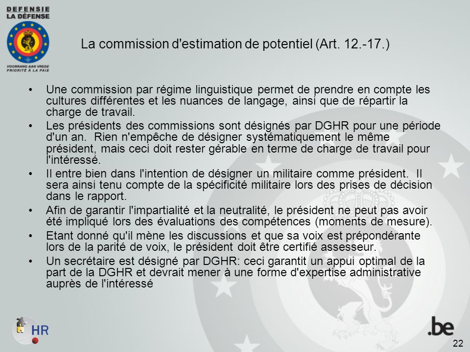 La commission d estimation de potentiel (Art. 12.-17.)