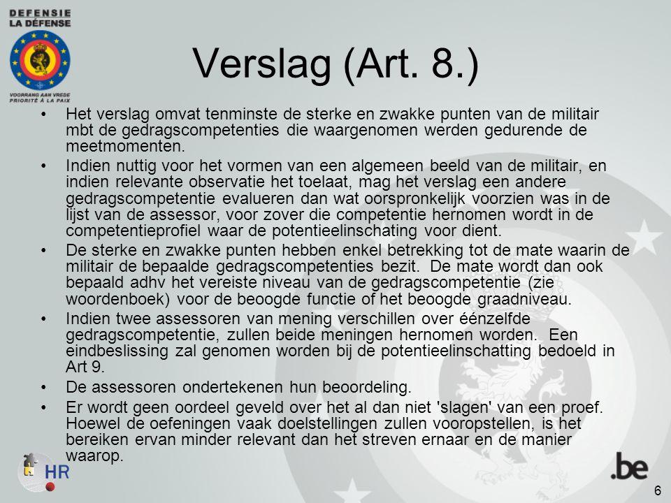 Verslag (Art. 8.)