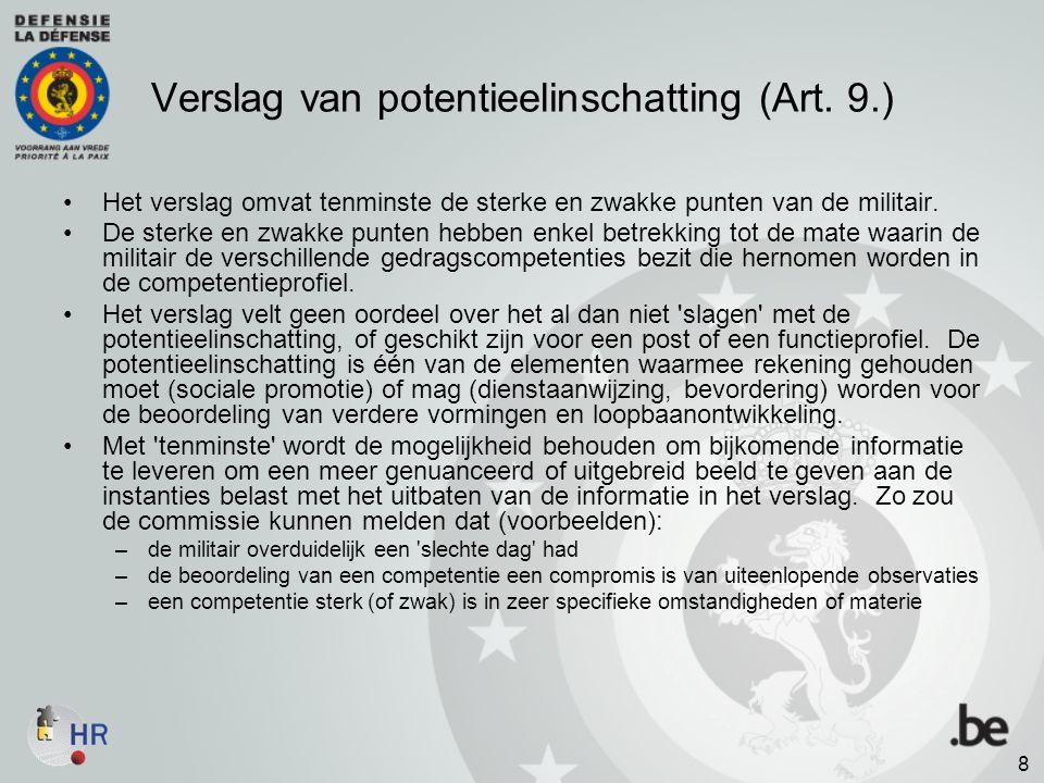Verslag van potentieelinschatting (Art. 9.)