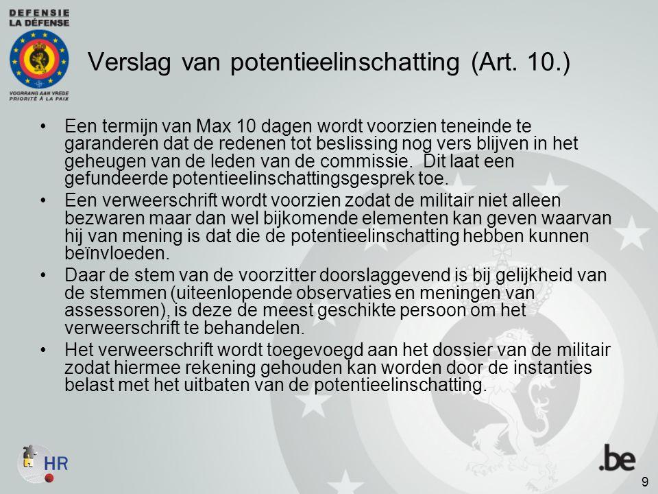 Verslag van potentieelinschatting (Art. 10.)
