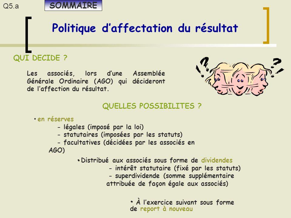 Politique d'affectation du résultat