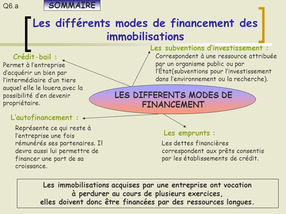 Les différents modes de financement des immobilisations