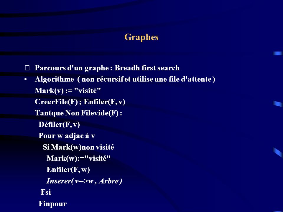 Graphes Parcours d un graphe : Breadh first search