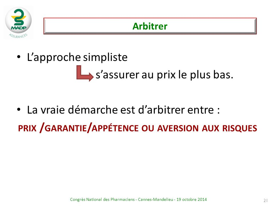 prix /garantie/appétence ou aversion aux risques