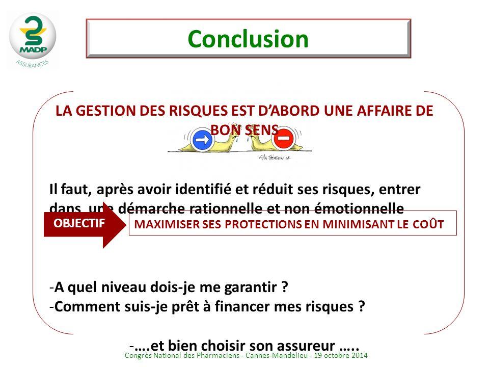 Conclusion LA GESTION DES RISQUES EST D'ABORD UNE AFFAIRE DE BON SENS