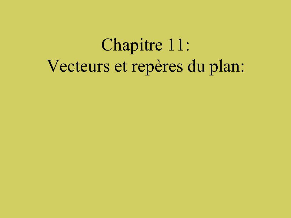 Chapitre 11: Vecteurs et repères du plan:
