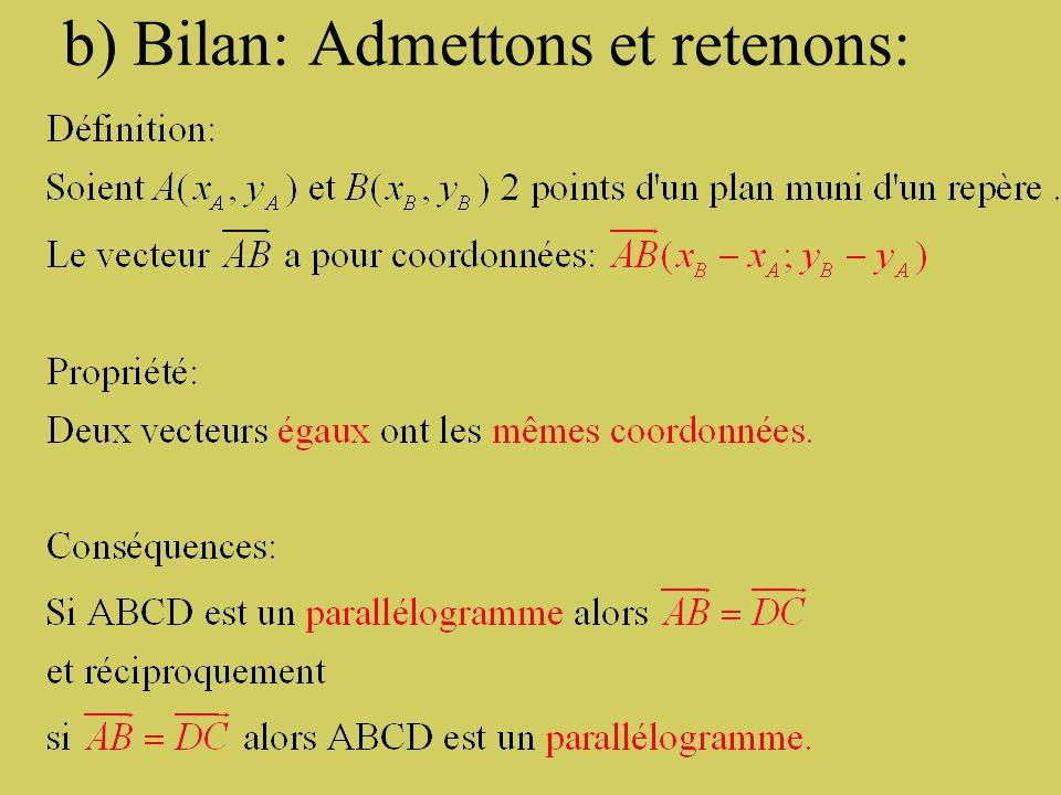 b) Bilan: Admettons et retenons: