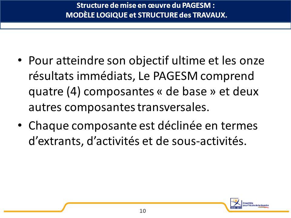 Structure de mise en œuvre du PAGESM :