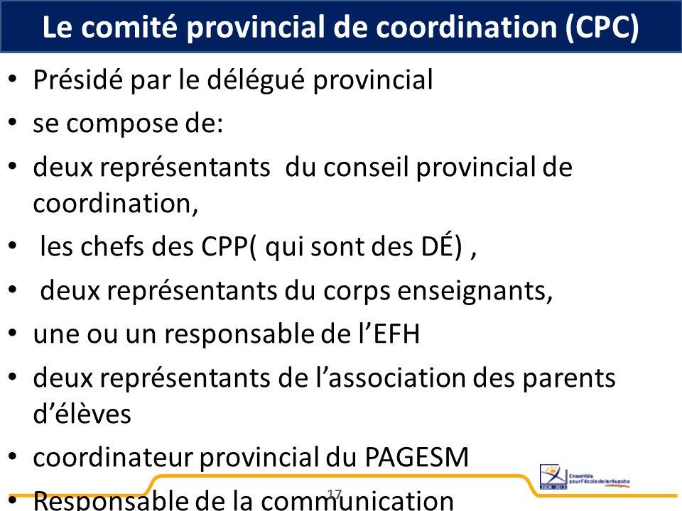 Le comité provincial de coordination (CPC)