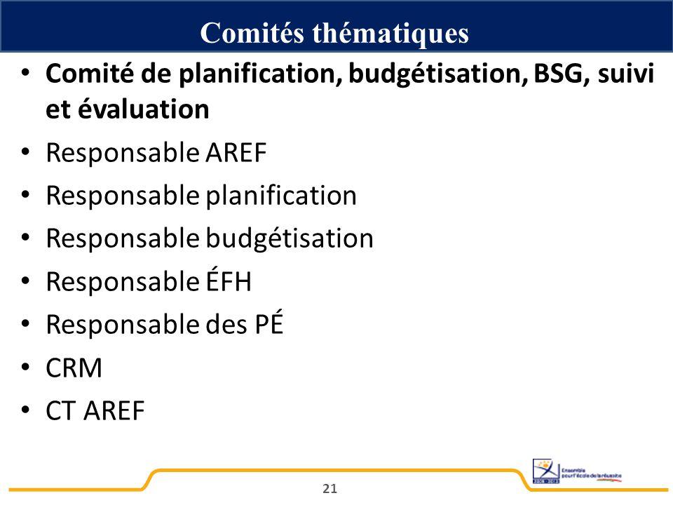 Comités thématiques Comité de planification, budgétisation, BSG, suivi et évaluation. Responsable AREF.