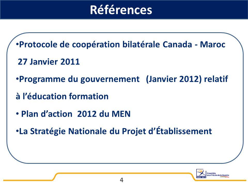 Références Protocole de coopération bilatérale Canada - Maroc